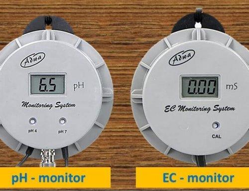 pH monitor és EC monitor – folyamatos pH és EC értékek megfigyelése öntözés és tápoldatozás alatt.